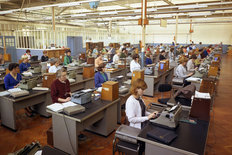 Cowley factory BMC 1965 typing pool