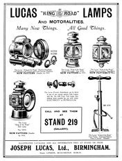Lucas equipment for cars 1909
