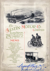 Austin Motor Company signed Lunch Menu