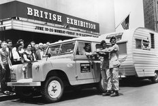 Land Rover and caravan in New York 1960