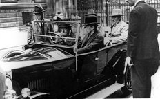Winston Churchill and Stanley Baldwin in Wolseley 1930s
