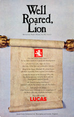 Lucas Advertisement Well Roared Lion 1969